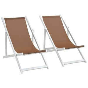 Chunhe Klappbarer Strandstuhl Sonnenliege Gartenliege Relaxliege Schaukelliege Liegestuhl Schaukelstuhl 2 Stk. Aluminium und Textilene Braun