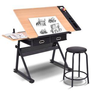 COSTWAY Zeichentisch Schreibtisch Architektentisch Arbeitstisch Tisch Buerotisch mit Schubladen + Hocker hoehenverstellbar neigbar