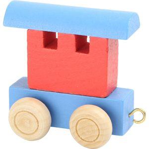Small Foot Design 10348 Buchstabenzug bunt Holz Waggon, blau/rot (1 Stück)