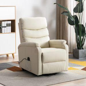 Sessel mit Aufstehhilfe Cremeweiß Kunstleder