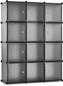 Meerveil Kunststoff Kleiderschrank Garderobenschrank Steckregal DIY Modular Schrank Regalsystem mit 2 Kleiderstange (Halbtransparent Grau, 12-Kubus)