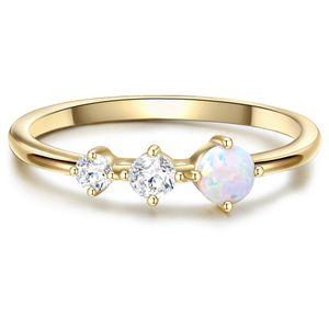 Ring Sterling Silber gelbvergoldet Zirkonia weiß Opal (synth.) 60
