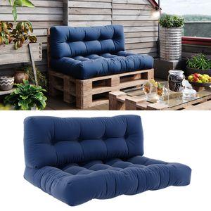 Vicco Palettenkissen Set Sitzkissen + Rückenkissen 15cm hoch Palettenmöbel Flocke blau