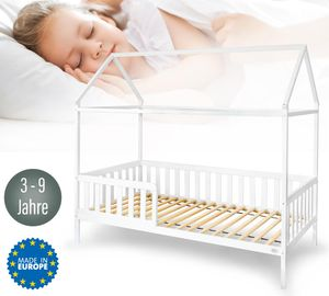 Alcube Hausbett 160x80 cm mit Rausfallschutz und Lattenrost, Kinderbett 80x160 cm für Mädchen und Jungen Kinderbetten aus massivem Kiefernholz
