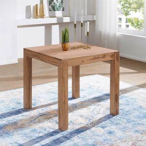 WOHNLING Esstisch MUMBAI Massivholz Akazie 80 cm Esszimmer-Tisch Holztisch Design Küchentisch Landhaus-Stil dunkel-braun