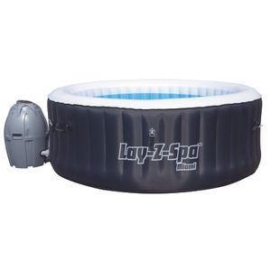 Bestway Whirlpool Lay-Z-Spa Miami   4 Personen   81 Massageluftdüsen   automatisch aufblasbar   180x66 cm   schwarz/türkis   Abdeckung   Indoor Outdoor
