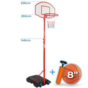 Infantastic® Basketballkorb - Outdoor und Indoor, für Kinder, Höhenverstellbar (148 - 200), mit Ständer, Luftpumpe, Basketball, Tragbar, Räder - Basketballständer, Korbanlage, Basketballanlage