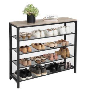 VASAGLE Schuhregal mit 4 Ablagen für 12-16 paar Schuhe Schuhablage mit großzügiger Oberfläche aus Metall Industrie-Design Greige-Schwarz LBS015B02
