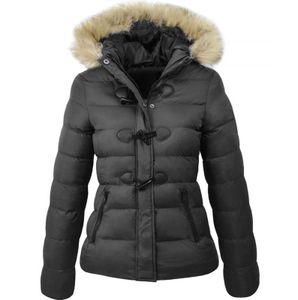 Mode Frauen Hooded Button Outwear Damen Warmer Mantel Lange gepolsterte Slim Jacke Größe:XXXL,Farbe:Schwarz