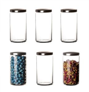 6er Set Vorratsglas 1,5 Liter, 20,5 cm - Aus Glas mit Metalldeckel - Aufbewahrung mit Dichtung