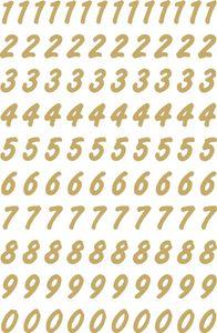 HERMA Zahlen Sticker 0-9 Folie transparent Zahlen gold 208 Sticker auf 2 Blatt