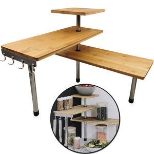 Bambus Küchenregal Eckregal - Regal aus Bambusholz und rostfreiem Edelstahl - Einfache Montage - Bambusregal mit 4 Haken