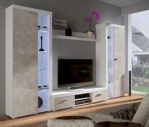 TOP Wohnwand Rumba XL Anbauwand Wohnkombi Wohnzimmer Beton Optik + Weiss matt