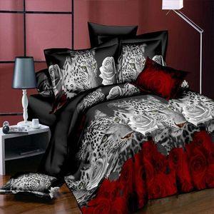 Bettwäsche-Set 3D Leopard Weiß und Rot Rose Floral Prints 4Piece Bettbezug Größe Tröster Set für Doppelbett 200cmx230cm