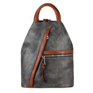 OBC Damen Rucksack Tasche Schultertasche Leder Optik Daypack Backpack Handtasche Tagesrucksack Cityrucksack Grau-Cognac