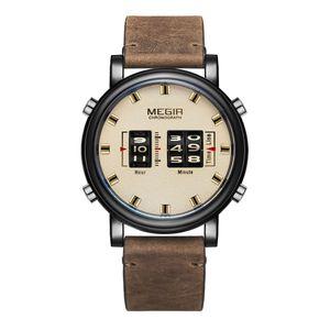 MEGIR 2137 Military Army Quartz Herrenuhr 3ATM wasserdicht Trommel-Typ Roller Armbanduhr Outdoor Sports Clock Armbanduhr mit Lederband