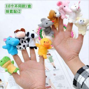 10 Stück Tierplüschpuppen-Fingerpuppen, pädagogisches Cartoon-Tierlehrspielzeug für Kinder, Familienspielzeug