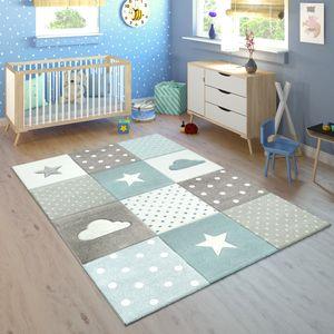 Kinderteppich Kinderzimmer Kariert Punkte Wolken Sterne In Pastell Blau Grau, Grösse:120x170 cm