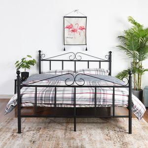 H.J WeDoo 140x190cm Einzelbett Bettgestell mit Lattenrost Metallbett Bettbezug,schwarz