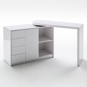 Schreibtisch und Regal mit Drehfunktion Hochglanz weiß MATT
