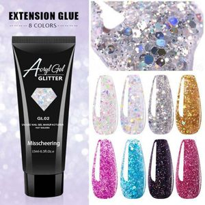 Polygel UV Acryl Poly Gel Pailletten Builder Natural Quick Extension Nails Kit@#H03