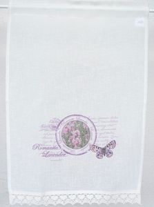 Panneaux Scheibengardine Lavender Landhaus Stil Stoff+Spitze offwhite , Panneaux:40 x 60 cm