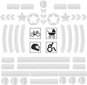 Reflektoren Aufkleber Sticker 42 Stück Reflexfolie Set selbstklebend zur Sicherungsmarkierung von Kinderwagen,Fahrrad, Helmen mit Stickern, hochreflektierend