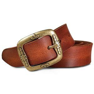 ROYALZ Vintage Ledergürtel für Damen aus Büffel-Leder 38mm breit Jeans-Gürtel Damen kürzbar Voll-Leder, Größe:100, Farbe:Cognac Braun - Schnalle Floral Antik