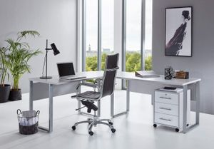 Büromöbel komplett Set Arbeitszimmer Office Edition in Lichtgrau/Weiß Hochglanz (Schreibtisch mit Rollcontainer)