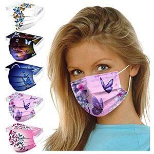 50 Stück Erwachsene Mundschutz Einweg 3 lagig Mund-Nasenschutz mit Motiv Halstuch Mund und Nasenschutz