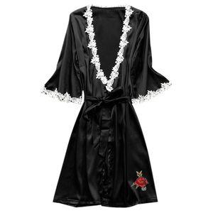 Frauen Sexy Satin Seide Nachtwäsche Pyjama Nachthemd Dessous Nachtkleid Größe:M,Farbe:Bunt