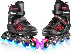 CAROMA Kinder Inliner Inlineskates Skates Rollschuhen,Verstellbare Inline Skates mit Beleuchteten Rädern ,Roller Skates mit 82A PolyurethanRädern,ABEC7,für Jungen, Mädchen, Anfänger,Einstellbarer Größe 39-42