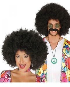 Afro Perücke schwarz für Hippie Motto Party & Fasching