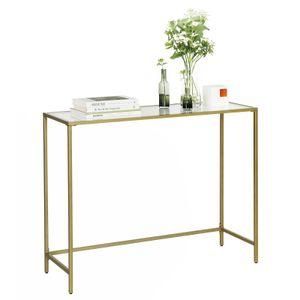VASAGLE Konsolentisch aus Hartglas 100 x 35 x 80 cm Beistelltisch |moderner Sofatisch stabil einfacher Aufbau verstellbare Füße goldfarben LGT26G