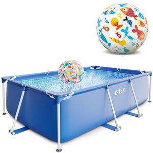 Intex Small Frame Swimming Pool 260x160x65 cm Schwimmbecken Schwimmbad 28271 mit Extra-Zubehör: Strandball