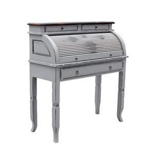 SIT Möbel Sekretär aus Akazie-Holz taupe | mit Rollladen | 4 Schubladen, 5 Fächer | Deckplatte dunkelbraun | Griffe messing-farben | B 100 x T 41 x H 106 cm | 09740-97 | Serie SPA