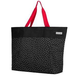 anndora XXL Shopper schwarz weiß - Strandtasche 40 Liter Schultertasche Einkaufstasche - Schwarz