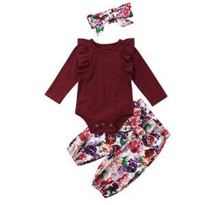 Mädchen Strampler Tops mit Stirnband Baumwolle Outfit Kleidung Set Bodysuit 100cm Weinrot Hosen-Outfit Blumen