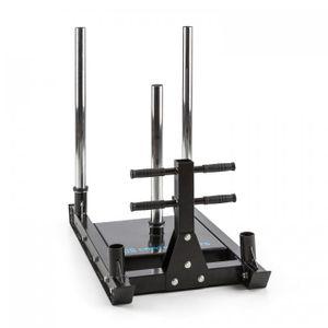 CAPITAL SPORTS Sledster Plus Gewichtsschlitten - Powerschlitten , Sprint- und Zugschlitten , Schnellkrafttraining , Druck- und Zugübungen , 7 cm Gleitschienen , Gewichte mit Ø 50 mm , Stahl , schwarz