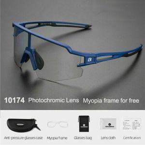 ROCKBROS Photochrome Fahrradbrille Polarisierte Brille Radbrille Blau