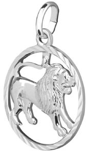 Kettenanhänger Anhänger Sternzeichen Löwe 925 Silber 15 mm inkl. kleiner Schmuckbox
