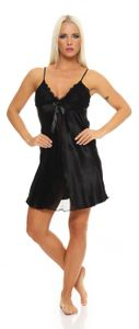 Damen kurzes Negligé Nachtkleid Reizwäsche mit Spitze, Schwarz XL