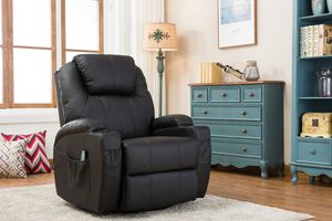 MCombo Massagesessel Fernsehsessel Relaxsessel + Heizung mit Dreh+Schaukel manuell verstellbar 7020BK