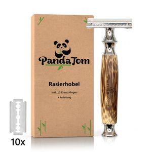 PandaTom© Premium Rasierhobel für Damen & Herren mit Bambus-Griff   Nass-Rasierer mit 10 Rasierklingen   Hochwertig & Sanft   Safety Razor Geschlossener Kamm   Nachhaltig Plastikfrei