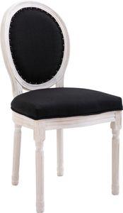 CLP Stuhl Lorient Stoff Mit Holzgestell und Sitzhöhe von 52 cm, Farbe:schwarz, Gestell Farbe:Antik-weiß