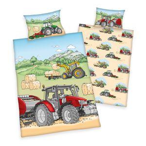 """Herding ( Baby Best ) """"Traktor"""" Bio-Bettwäsche /  Babybettwäsche / Kleinkinderbettwäsche, 100% Baumwolle ( Flanell ), 40x60 + 100x135 cm"""