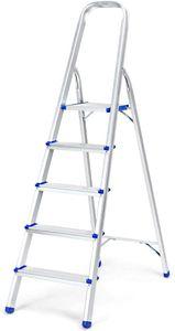 GOPLUS Trittleiter, Klapptrittleiter aus Alu, Leiter mit Plattform und Handlauf, Haushaltstritt Belastbar bis zu 150Kg, Rutschfest, Klappbar, Einfache Lagerung, Silbrig, 5 Stufen
