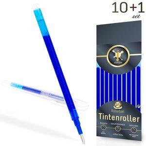 10 kompatible zu Pilot Frixion Ersatzmine blau 0,7, geeignet für Tintenroller radierbar + Bonus Radiergummi Stift