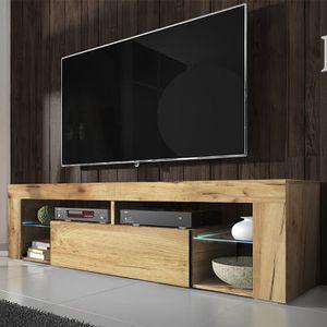 Selsey TV-Schrank BIANKO TV-Lowboard in Holz-Optik Lancaster Eiche mit LED-Beleuchtung Stehend 140cm