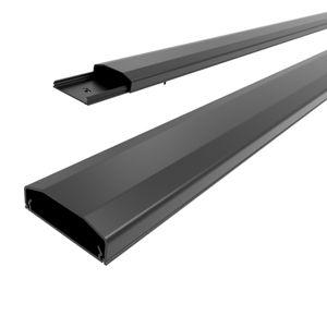 conecto Kabelkanal mit 3M Klebeband selbstklebend selbsthaftend zum Kleben oder Schrauben aus hochwertigem PVC (Länge 100cm, Breite 6cm, Höhe 2cm) schwarz + 10er Klettkabelbinder